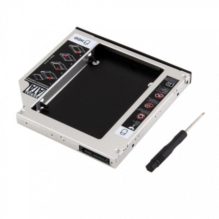 Hard disk caddy adaptor de la unitate optica SATA la HDD SATA 12.7 mm HDD / SSD