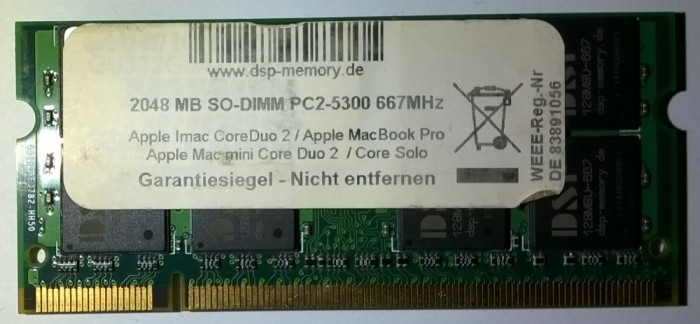 2Gb Memorie laptop DSP Germany Apple DDR2 2GB PC2-5300 667MHz SoDimm Imac