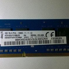Ram laptop Kingston 2GB PC3-12800 DDR3 1600MHz ACR16D3LFS1KBG/2G Sodimm 2GB - Memorie RAM laptop Kingston, 1333 mhz