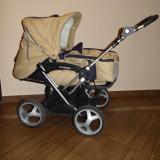 Carucior copii 2 in 1 Teutonia cu landou - roti mari, 0-3 ani,, Crem