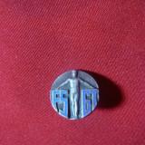 Insigna FSGT, interbelica, metal argintat si email, d= 1, 3 cm