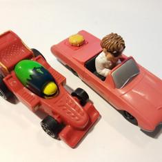 set 2 masinute McDonalds: curse F1 Hot Wheels Mattel; Ford Thunderbird Disney