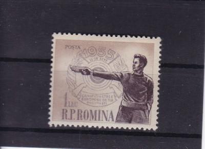 ROMANIA 1955 , LP 393 , CAMPIONATELE EUROPENE DE TIR SERIE MNH foto