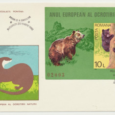 RFL 1980 ROMANIA FDC rar cu colita nedantelata Anul ocrotirii naturii - Ursoaica, Romania de la 1950