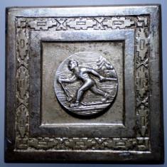 5.135 ROMANIA RPR PLACHETA SPORT SCHI CUPA FEDERATIEI 1961 45/45mm - Medalii Romania