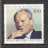 Germania.1993 80 ani nastere W.Brandt-om politic PREMIUL NOBEL SG.801 - Timbre straine, Nestampilat