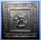 5.128 ROMANIA PLACHETA SPORT SCHI CUPA FEDERATIEI 1965 45/45mm