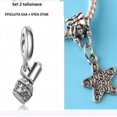 SET 2 Charm talisman pandantiv pt bratara PANDORA (sticla oja+stea) - Bratara argint pandora, Femei