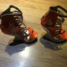 Sandale Fashion - Sandale dama Abercrombie & Fitch, Culoare: Orange, Marime: 36