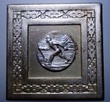 5.134 ROMANIA PLACHETA SPORT SCHI CUPA TINERETULUI SARITURI 1965 45/45mm