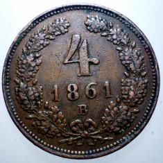 E.023 AUSTRIA 4 KREUZER 1861 B, Europa, Cupru (arama)
