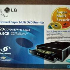 LG GE20 Nou! EXTERNAL CD DVD +\-RW DualLayer Rewriter + Lightscribe - Unitate optica externa
