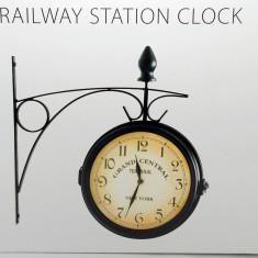 Ceas dublu de pererete - cu doua fete - New York Railroad - vintage - Negru -Nou