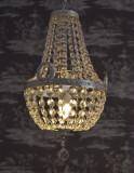 LAMPA DIN ALAMA MASIVA ARGINTATA CU CRISTALE  KKC008