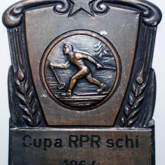 5.153 ROMANIA PLACHETA SPORT SCHI CUPA RPR 1964 50/40mm - Medalii Romania