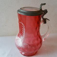 CARAFA cu CAPAC - sticla pictata manual cu email - MERY GREGORY 1900