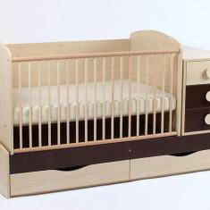 Patut Transformabil MYKIDS Silence Cu Leg Wenge 4057 - Patut lemn pentru bebelusi MyKids, 120x60cm