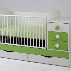 Patut Transformabil MYKIDS Silence Alb-Verde Cu Leg 5241 - Patut lemn pentru bebelusi MyKids, 120x60cm
