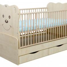 Patut Transformabil MYKIDS Teddy Natur Cu Leg 4834 - Patut lemn pentru bebelusi MyKids, 140x70cm, Maro
