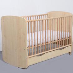 Patut Copii Lemn Sertar MYKIDS SERENA Cu Leg Natur 3613 - Patut lemn pentru bebelusi MyKids, 120x60cm, Maro