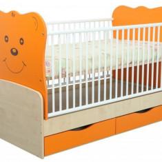 Patut Transformabil MYKIDS Teddy Natur-Orange Cu Leg 4837 - Patut lemn pentru bebelusi MyKids, 140x70cm, Maro