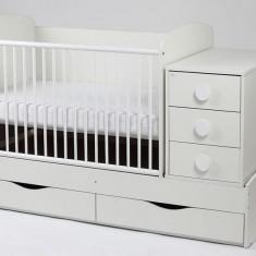 Patut Transformabil MYKIDS Silence Alb Cu Leg 3604 - Patut lemn pentru bebelusi MyKids, 120x60cm