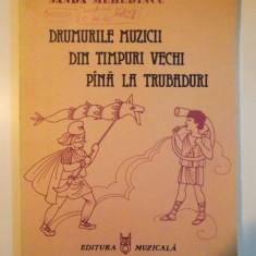 DRUMURILE MUZICII DIN TIMPURI VECHI PANA LA TRUBADURI. CARTE ILUSTRATA PENTRU COPII de SANDA MEHEDINCU 1986 - Muzica Dance