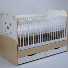 Patut Transformabil MYKIDS Teddy Natur-Alb Cu Leg 3609 - Patut lemn pentru bebelusi MyKids, 140x70cm, Maro