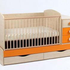 Patut Transformabil MYKIDS Silence Natur Orange Cu Leg 4058 - Patut lemn pentru bebelusi MyKids, 120x60cm, Maro