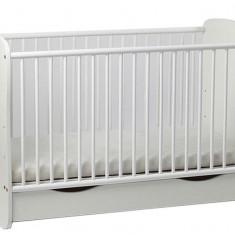 Patut Copii Lemn Sertar MYKIDS SERENA Cu Leg Alb 5099 - Patut lemn pentru bebelusi MyKids, 120x60cm