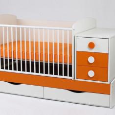 Patut Transformabil MYKIDS Silence Alb-Portocaliu Cu Leg 4252 - Patut lemn pentru bebelusi MyKids, 120x60cm