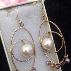 Cercei rotunzi eleganti placati cu aur  18k si perla de cultura - GOLD filed