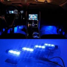Lumini pentru picioare, auto, 4 module a cate 3 leduri, lumina albastra - Lumini interior auto, Universal