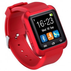 Ceas Rosu Smart Watch U80 sincronizare Bluetooth telefoane Android Nou in Cutie, Alte materiale, Android Wear