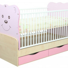 Patut Transformabil MYKIDS Teddy Natur-Mov Cu Leg 4838 - Patut lemn pentru bebelusi MyKids, 140x70cm, Maro