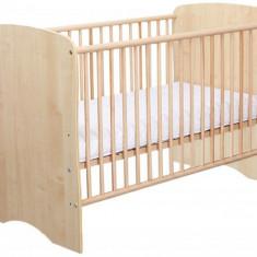 Patut Copii Lemn Fara Sertar MYKIDS SERENA Natur 3615 - Patut lemn pentru bebelusi MyKids, 120x60cm, Maro