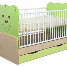 Patut Transformabil MYKIDS Teddy Natur-Verde Inchis Cu Leg 4835 - Patut lemn pentru bebelusi MyKids, 140x70cm