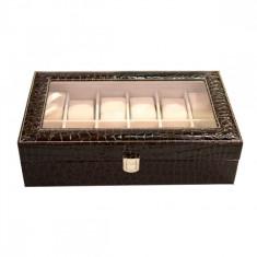 Cutie Pentru 12 Ceasuri - Maro Croco - Produs Nou - Cutie Ceas