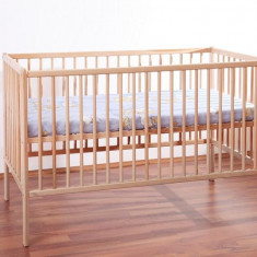 Patut Copii Lemn Fara Sertar MYKIDS TIKO Natur 3600 - Patut lemn pentru bebelusi MyKids, 120x60cm, Maro