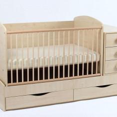 Patut Transformabil MYKIDS Silence Cu Leg Natur 3603 - Patut lemn pentru bebelusi MyKids, 120x60cm, Maro