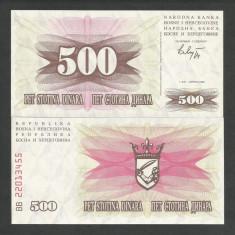 BOSNIA HERTEGOVINA 500 DINARI DINARA 1992 UNC [1] P-14a, necirculata - bancnota europa
