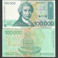CROATIA 100000 100.000 DINARI DINARA 1993 UNC [1] P-27a, necirculata - bancnota europa