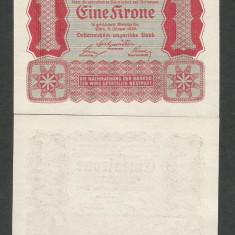 AUSTRIA AUSTRO-UNGARIA 1 KOROANA COROANA KRONE 1922 UNC [1] P-73, necirculata - bancnota europa