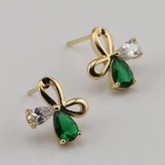 LIVRARE GRATIS! - CERCEI placati filati cu aur 14k cu piatra smarald verde - Cercei placati cu aur Swarovski