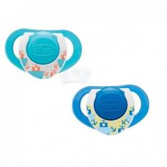 Suzeta Chicco silicon Physio, forma ergonomica, 12luni+, doua bucati, bleu