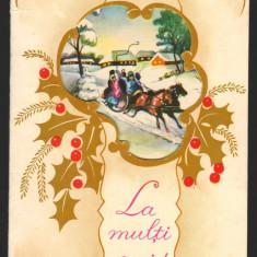 CPI (B7932) FELICITARE DE ANUL NOU - SANIE CU COLINDATORI - Carte Postala Muntenia dupa 1918, Necirculata, Fotografie