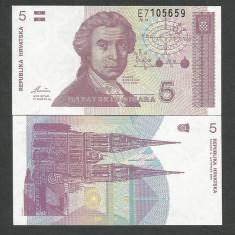 CROATIA 5 DINARI DINARA 1991 UNC [1] P-17, necirculata - bancnota europa