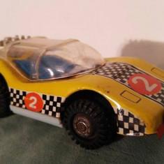 Masinuta curse, jucarie veche de tabla, GT, cu frictiune, DDR, - Vehicul