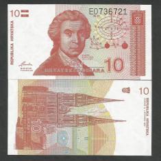 CROATIA 10 DINARI DINARA 1991 UNC [1] P-18a, necirculata - bancnota europa