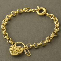 LIVRARE GRATIS - BRATARA placata aur 14k - pandantiv inima - Bratara placate cu aur Bvlgari